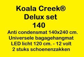 KOALA CREEK® Rooftop tent 140 DELUX set : Anti condens mat + bagage net + 2 schoenzakken - LED 12 volt.