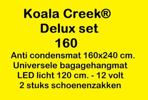 KOALA CREEK® Rooftop tent 160 DELUX set : Anti condens mat + bagage net + 2 schoenzakken - LED 12 volt.